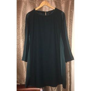 Zara Basic Two-Tone Long Sleeve Green Dress Sz XL